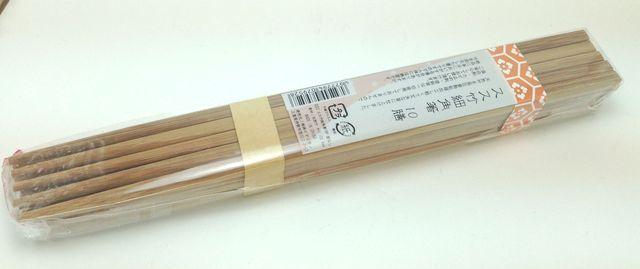 画像:スス竹細角箸(100円ショップ・キャンドゥ)
